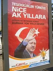 Plakat mit Recep Tayyip Erdogan